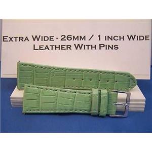 26mm Wide LtGrn Leathr Strap.Genuine Leather.Good Quality Watchband