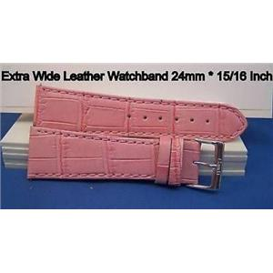 24mm Wide Pink Leather Strap.Genuine Leather.Good Quality Watchband