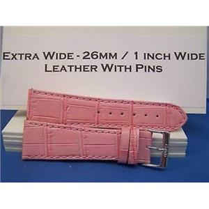 26mm Wide Pink Leather Strap.Genuine Leather.Good Quality Watchband