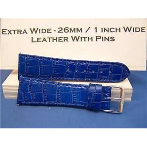 26mm Wide blue Leather Strap.Genuine Leather.Good Quality Watchband