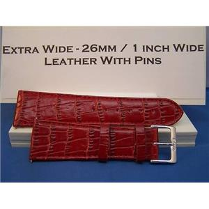 Extra Wide Leather Watchband. 26mm With Pins. Red