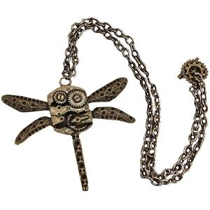 Steampunk Antique Dragonfly Gear Costume Necklace