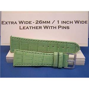 Extra Wide Leather Watchband. 26mm With Pins. Lt Green