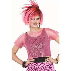 Woman's Rocker Pink Mesh Costume Top 80's Punk Style