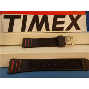 Timex Watch Band Triathlon Black Resin w Red Graphics 15mm Strap