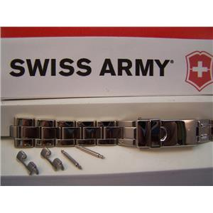 Swiss Army Watch Band Officers Ladies 15mm Bracelet Polished Steel Silver Tone