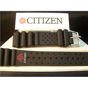 Citizen Watch Band Promaster Logo 20mm Black Rubber Diver Style Strap. Watchband