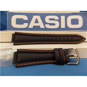 Casio watch band EF-308. Ef-301. Edifice Black Leather Orange Cotton Stitch Trim