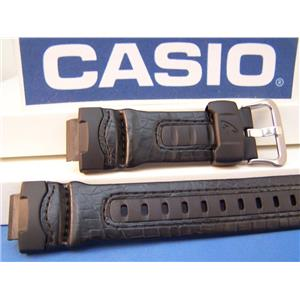 Casio Watch Band G-304 Rl G-Shock Resin and Leather Strap Black. Watchband