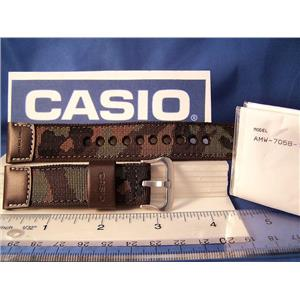 "Casio Watch Band AMW-705 B.22mm"" Hunting Time""  Military Brown Camouflage  w/Pin"