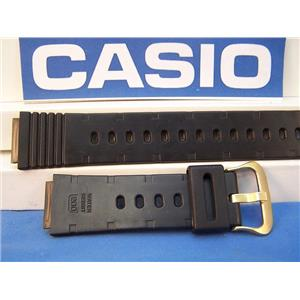 Casio Watch Band DW-1200 Black Resin Strap With Casio Logo Gold Tone buckle