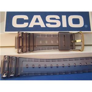 Casio Watch Band DW-5025 D-8V. Fits G-Shock DW-5600E Smoke Gray Clear gold tone buckle
