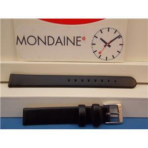 Mondaine Swiss Railways Watch Band FE3112. 12mm Wide  Black Leather Strap ladies