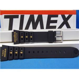 Timex Watch Band Triathalon Indiglo Timex Logo 18mm Black Strap w/Orange Gtaphic