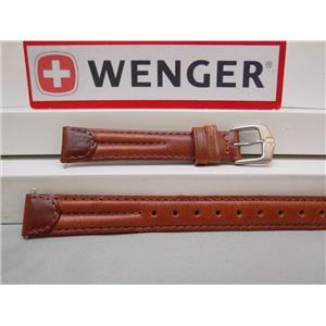 Wenger Watch Band Long Brn leather ladies 14mm Padded/Outline Stitch. Logo Strap/buckle