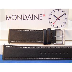 Mondaine Swiss Railways Watch Band 22mm black Leather Strap Outline Stitching