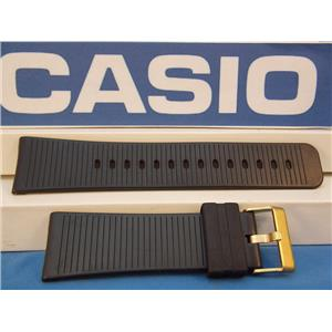 Casio Watch Band MW-301 24mm Black Rubber Strap w/Gold Tone buckle.