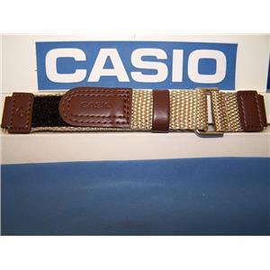 Casio Watch Band AW-80 V-5BW. NylonGrip Sport Strap Brown / Tan. With Pins