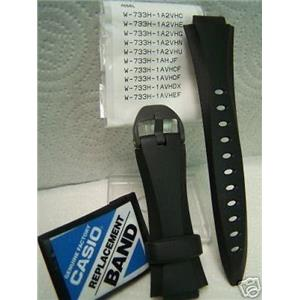 Casio watch band W-733 H Black Resin Strap with attaching pins