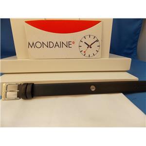 Mondaine Watch Band One Piece 14mm Wide black Leather Loop Thru Strap w/Logo buckle