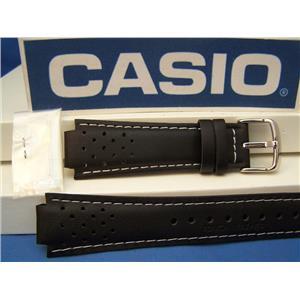 Casio Watch Band RL-300 L-2 Casio Red Line Black Leather Watchband -Strap w/Pins