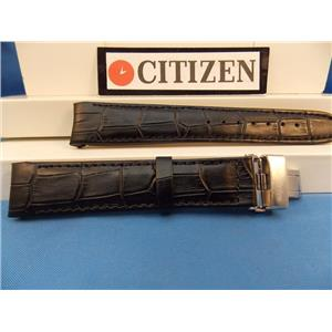 Citizen Watch Band BL8000 -03A Black Leather Eco Drive 20mm Curved End Strap