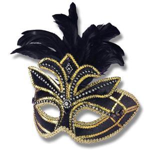 Fancy Black Feathered Venetian Adult Mask