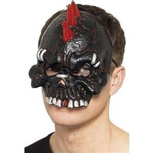 Black and Red Dark Dead Punk Chinless Half Face Mask