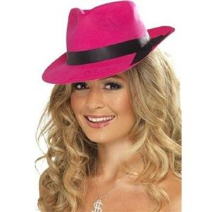 Flocked Plastic Neon Pink Trilby Fedora Costume Hat