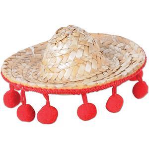Mini Straw Sombrero Hair Clip Costume Accessory
