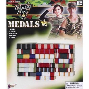 Combat Hero Military Medals Bars Costume Accessory
