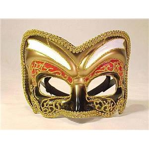 Black Gold and Red Venetian Masquerade Mask with Glitter 57260