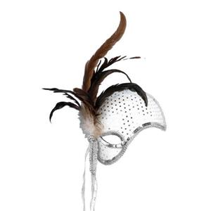 Silver Mystique Venetian Masquerade Mask with Feathers