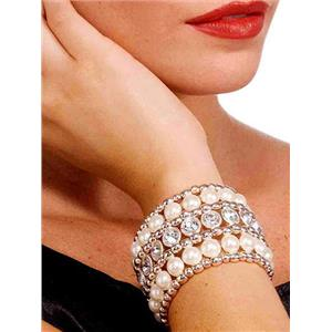Silver Vintage Hollywood Pearl and Rhinestone Costume Bracelet Jewelry