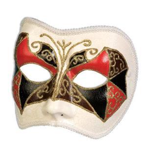 Forum Tri Color Red Black Brown Harlequin Venetian 1/2 Face Mask