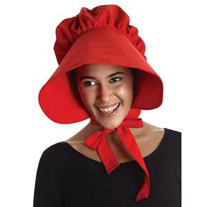 Large Red Floppy Brimmed Colonial Bonnet Adult Hat