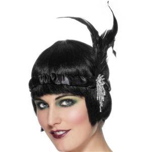 Black Satin Charleston Flapper Headband with Feather and Jewel