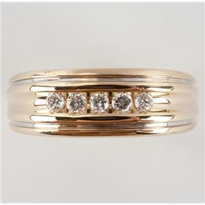 Men's 14k Yellow Gold Round Cut Diamond Wedding / Anniversary Band .20ctw