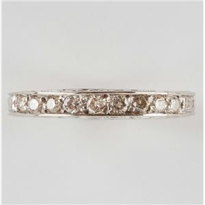 Ladies 14k White Gold Vintage Style Etched Band Diamond Ring .30ctw