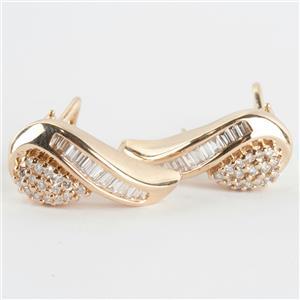 Ladies 14k Yellow Gold Baguette & Round Cut Diamond Huggie Earrings .90ctw