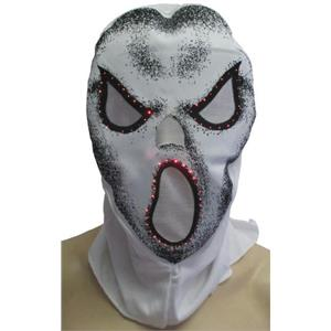 White Fiber Optic Skull Hood Costume Accessory