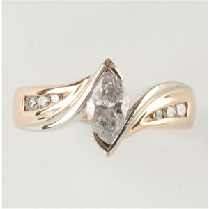 Ladies 14k Yellow & White Gold Diamond Solitaire Engagement Ring W/ Accents