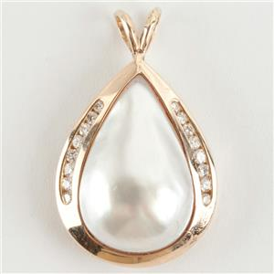 Ladies 14k Yellow Gold Pear Cut Natural Mabe Pearl & Diamond Pendant .16ctw