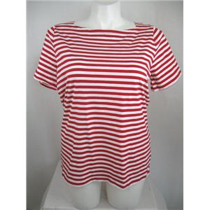 Talbots Woman Size X Modified Boat Neck Short Sleeve Cotton Red Stripe Top