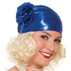 Blue Metallic 20's Flapper Cloche Turban Hat Costume Accessory