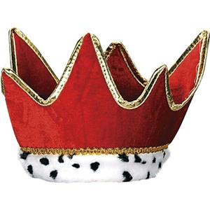 Red Plush Royal Crown Costume Accessory