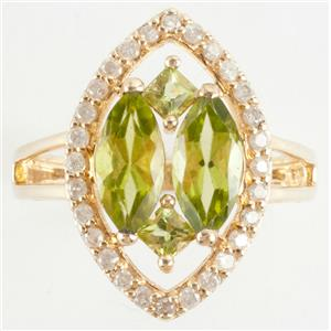 Ladies 14k Yellow Gold Marquise & Princess Cut Peridot & Diamond Ring 2.92ctw