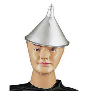 Silver Plastic Tin Man Funnel Top Hat Costume Accessory