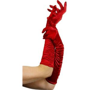 Red Ruched Long Elbow Length Dress Gloves Costume Accessory