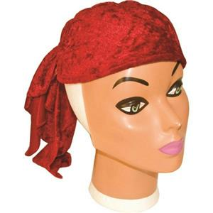 Soft Velvet Red Pirate Buccaneer Hat Bandanna Doo-Rag